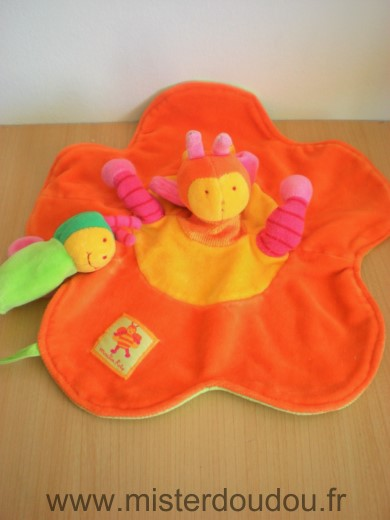 Doudou Abeille Moulin roty Louna orange jaune vert