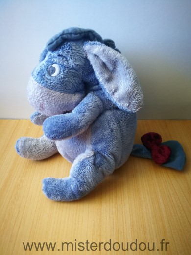 Doudou Ane Disney Bourriquet mauve gris noeud bordeau