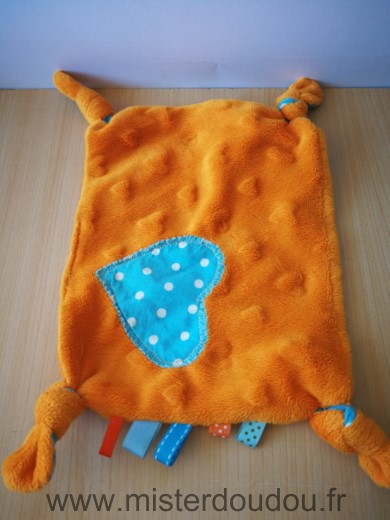Doudou Carre 0 Rectangle orange coeur bleu