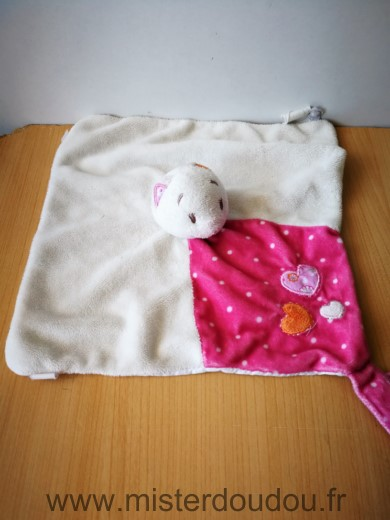 Doudou Chat Noukie s Blanc rose coeur
