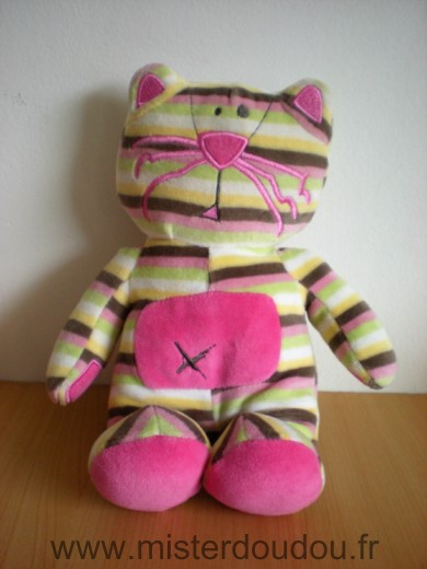 Doudou Chat Orchestra Rayures rose marron vert blanc