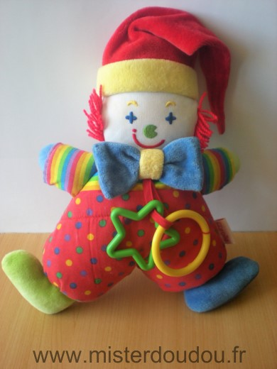 Doudou Clown Corolle Rouge bleu