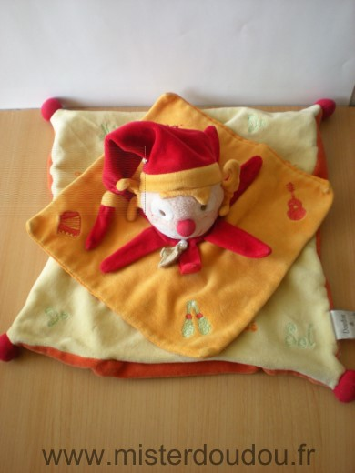 Doudou Clown Doudou et compagnie Jaune orange rouge