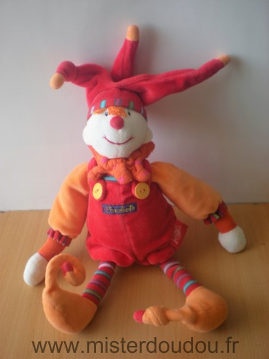 Doudou Clown Moulin roty Dragobert rouge orange