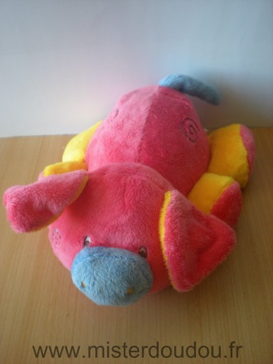 Doudou Cochon Addex Rose bleu jaune