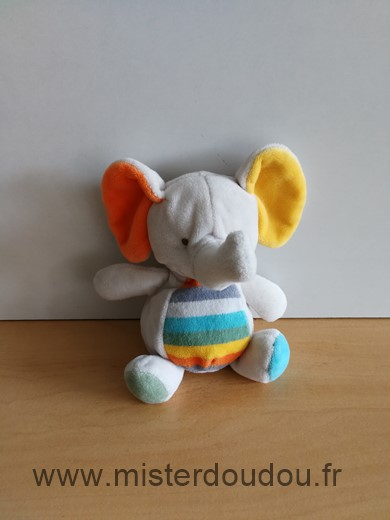 Doudou Eléphant Tex Gris orange jaune