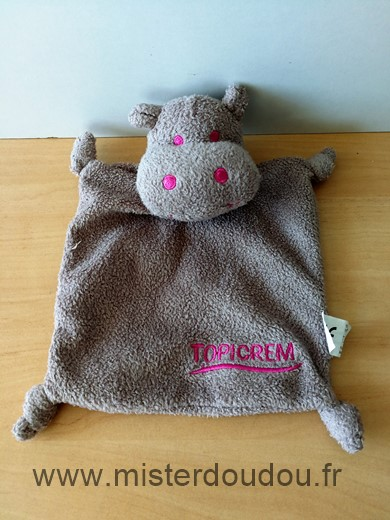 Doudou Hippopotame Topicrem Marron rose