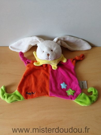Doudou Lapin Baby nat Orange rose col jaune etoiles