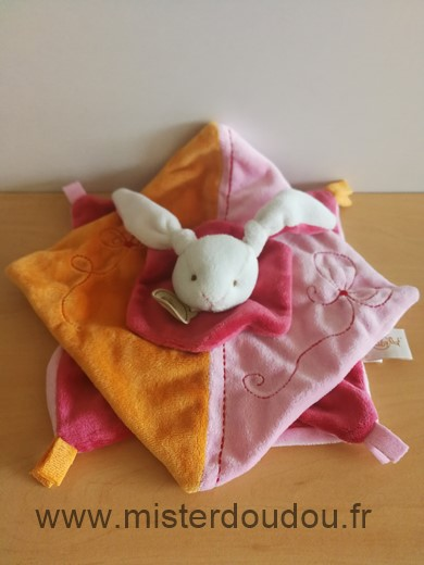 Doudou Lapin Baby nat Orange rose rouge blanc