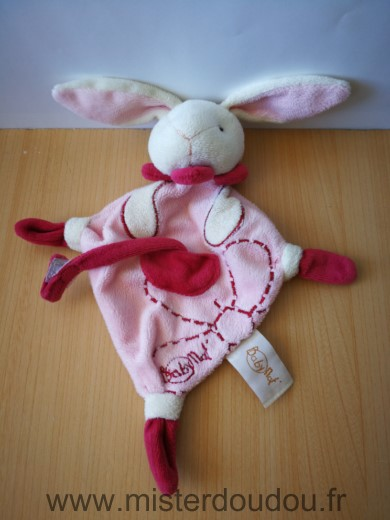 Doudou Lapin Baby nat Rose blanc attache sucette