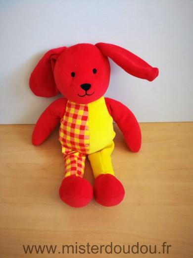 Doudou Lapin Berchet Rouge jaune carreaux