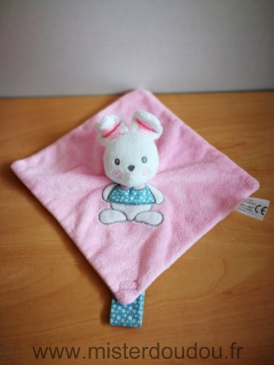 Doudou Lapin Cartoon club Rose blanc attache tétine