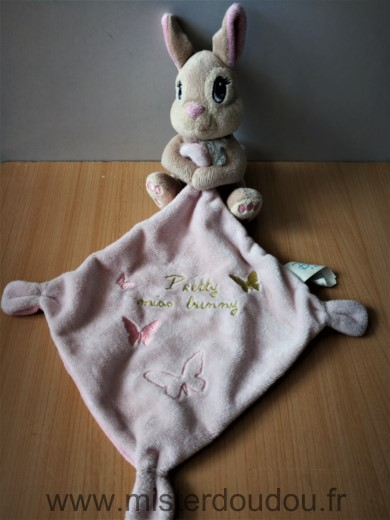 Doudou Lapin Disney Panpan beige mouchoir rose pretty miss bunny