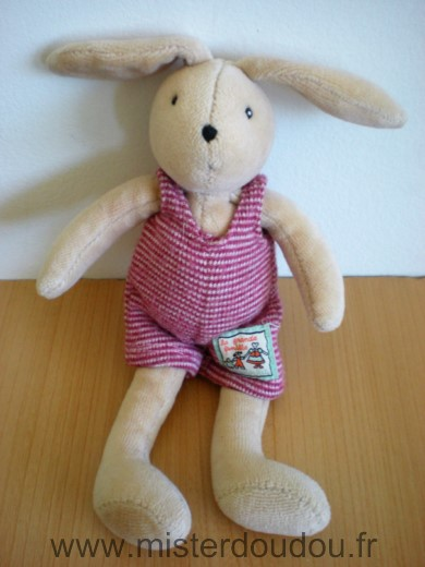 Doudou Lapin Moulin roty Beige salopette rayée rouge blanc