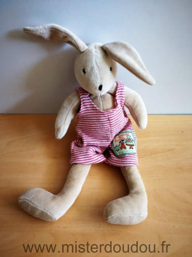 Doudou Lapin Moulin roty Sylvain beige salopette rayee rouge blanc