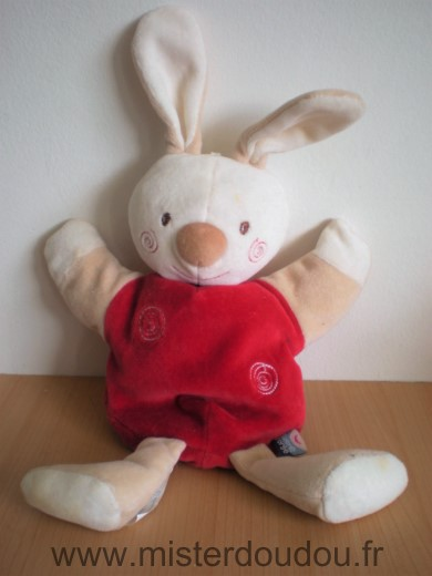 Doudou Lapin Sucre d orge Blanc rouge spirales