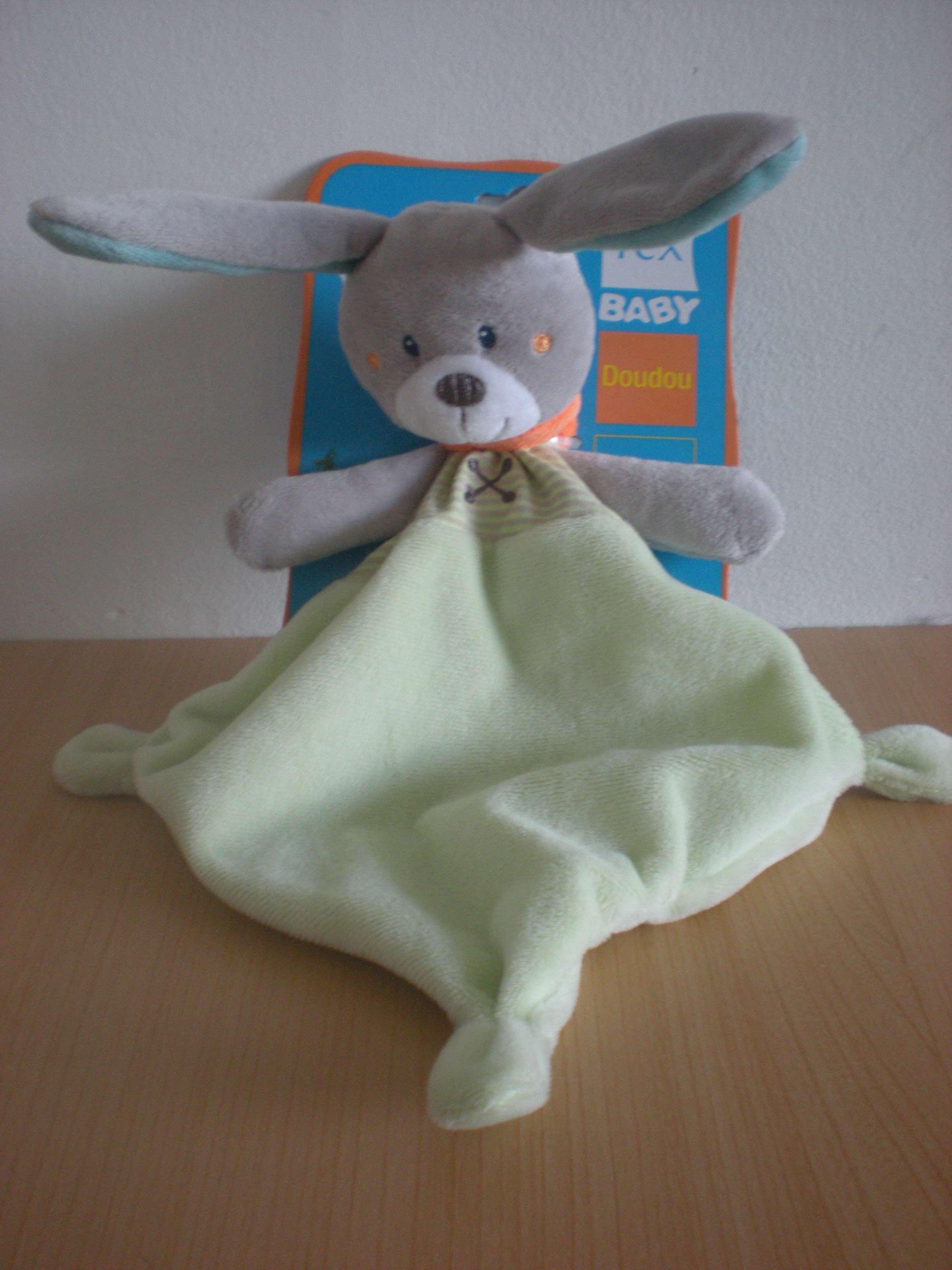 doudou lapin gris bleu vert  raton laveur tex baby