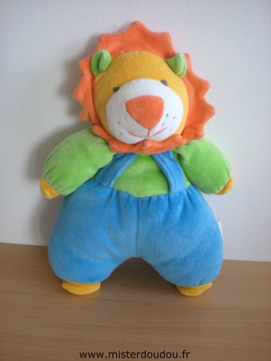 Doudou Lion Luckson Bleu vert orange