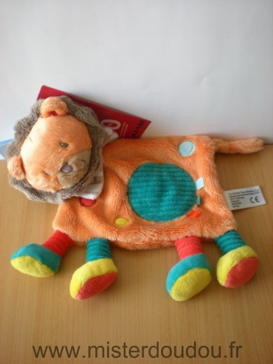 Doudou Lion Nicotoy Orange rond bleu simba