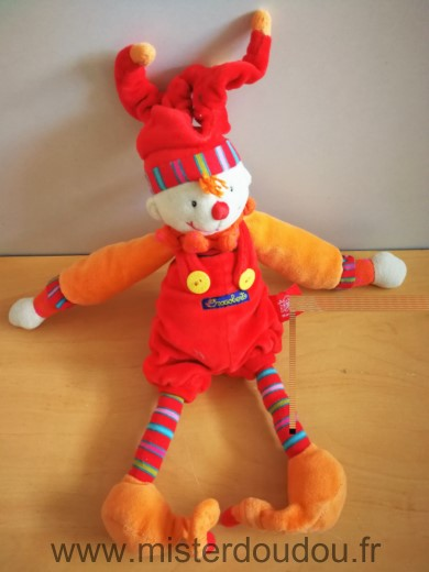 Doudou Lutin Moulin roty Clown dragobert rouge orange