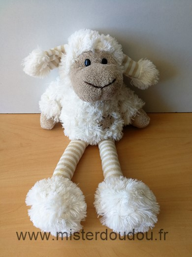 Doudou Mouton - marque non connue - Blanc beige  jambes rayees