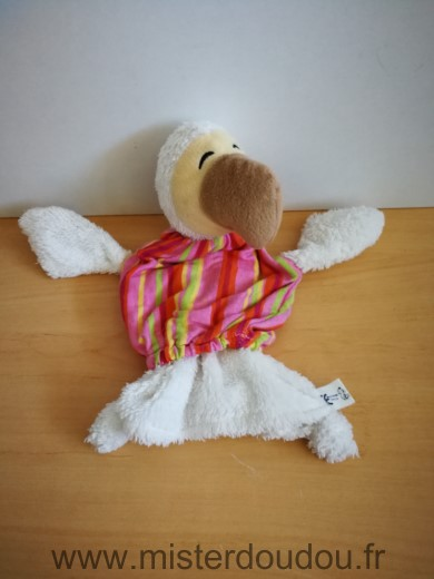Doudou Oiseau Wally plush Dodo blanc raye orange rose vert