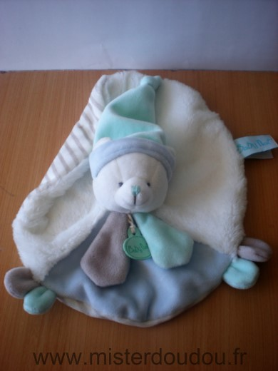 Doudou Ours Baby nat Blanc bleu beige rayures