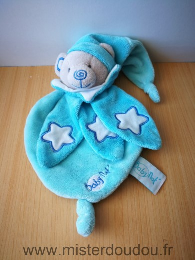 Doudou Ours Baby nat Bleu turquoise etoiles luminescent