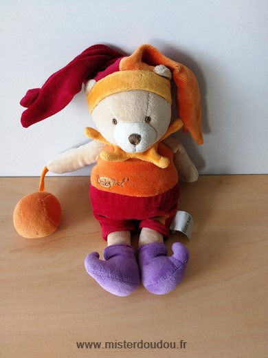 Doudou Ours Baby nat Orange rouge bal etoiles