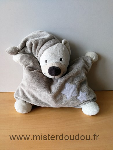 Doudou Ours Bout chou Gris etoiles blanches