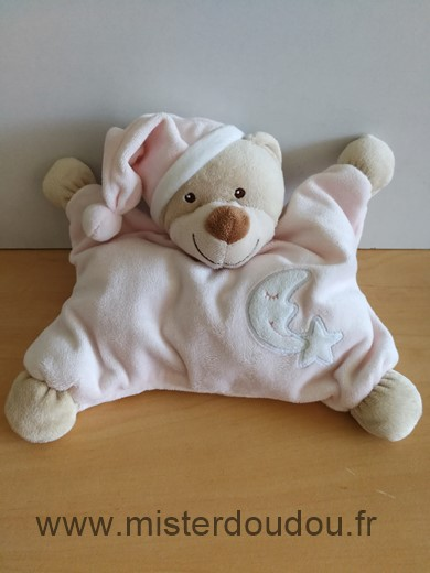Doudou Ours Bout chou Rose beige lune etoile