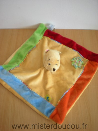 Doudou Ours Disney Winnie jaune bord bleu rouge orange vert feuille