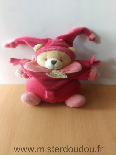Doudou Ours Doudou et compagnie Rose rouge framboise