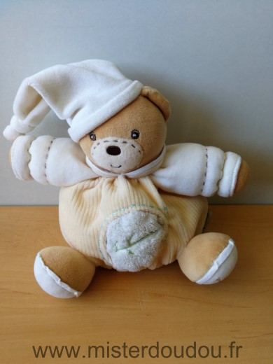 Doudou Ours Kaloo Pure jaune blanc feuille