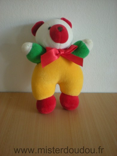 Doudou Ours Luckson Jaune vert blanc rouge