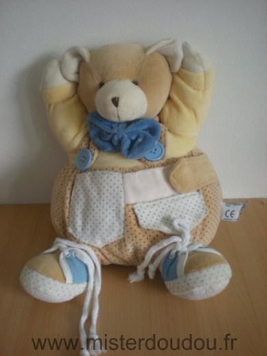 Doudou Ours Mgm Jaune beige blanc noeud bleu