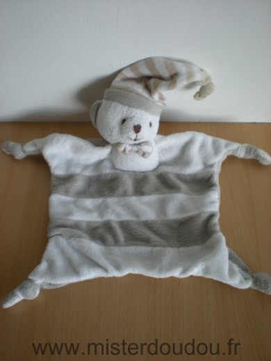 Doudou Ours Mgm Raye blanc gris dodo d amour credit mutuel