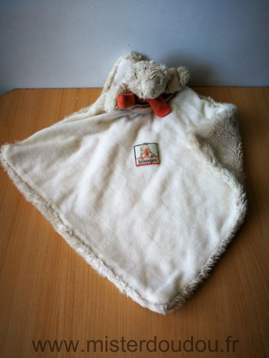 Doudou Ours Moulin roty Beige echarpe orange linvosges