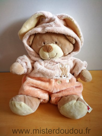 Doudou Ours Nicotoy Beige deguise en lapin rose