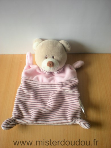 Doudou Ours Nicotoy Rose rayures
