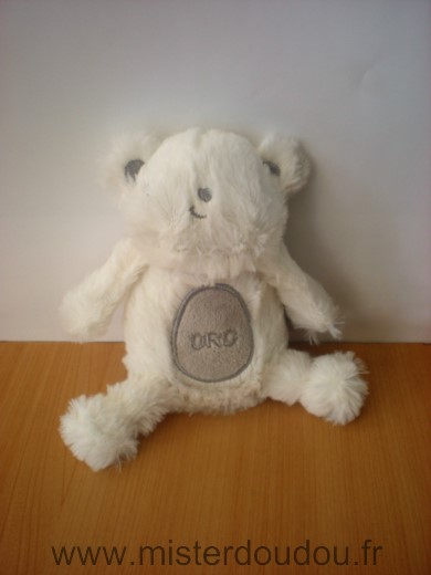 Doudou Ours Orchestra Blanc gris orc