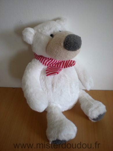 Doudou Ours Primatis Blanc gris echarpe rayee rouge