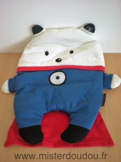 Doudou Ours Sergent major Bleu blanc cape rouge