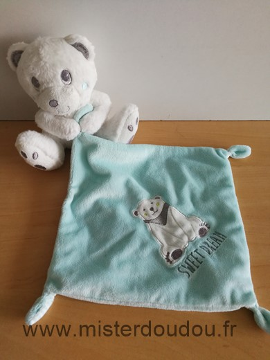 Doudou Ours Simba toy Blanc mouchoir bleu sweat dream