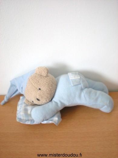 doudou ours tartine et chocolat ours bleu bonnet bleu coussin bleu blanc mister doudou sos. Black Bedroom Furniture Sets. Home Design Ideas