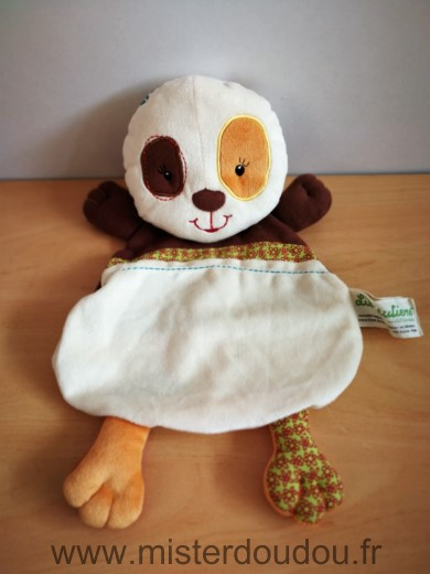 Doudou Panda Lilliputiens Clara ecru marron orange