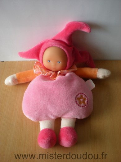 Doudou Poupée Corolle Rose orange