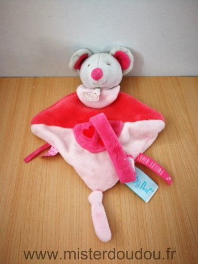 Doudou Souris Baby nat Rose coeur attache tetine