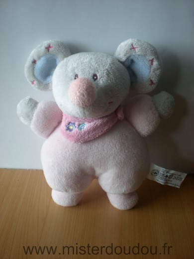 Doudou Souris Carrefour france Gris rose foulard