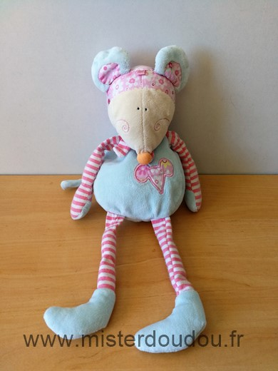 Doudou Souris Cp international Bleu rose